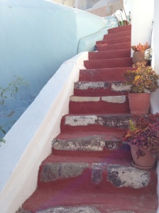 ...down the steps...